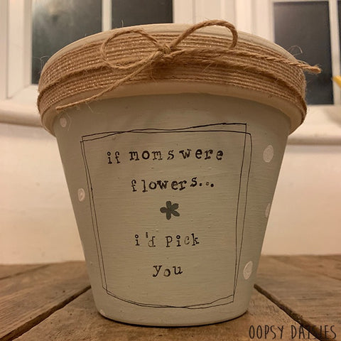 Personalised Plant Pot Md - Jute Ribbon 10855