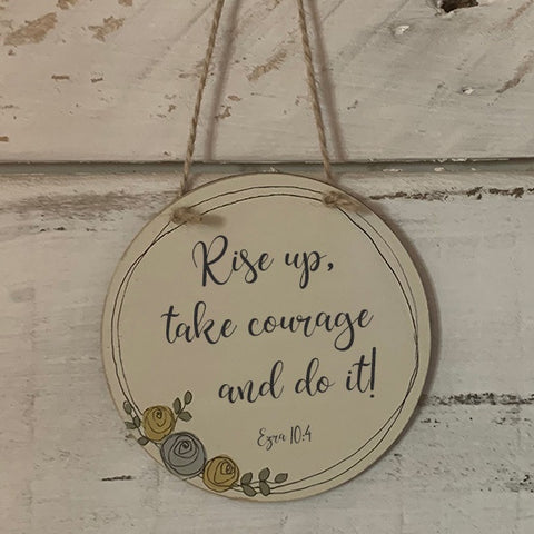 Handmade Roses Round Plaque - Rise Up 9932
