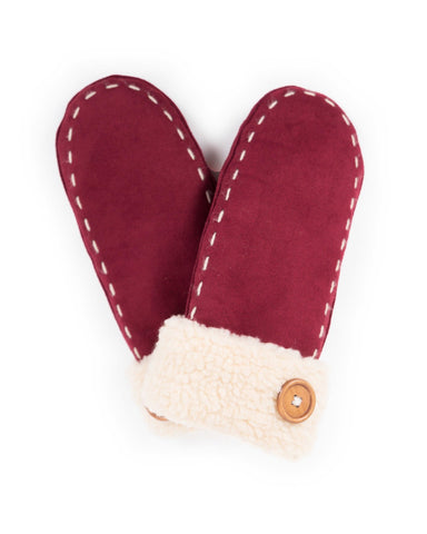Ellen Faux Suede Mittens In Berry 8222
