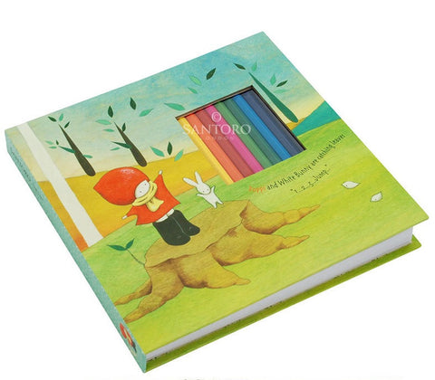 Poppy Loves Notebook with Colouring Pencils - Catching Leaves 6277