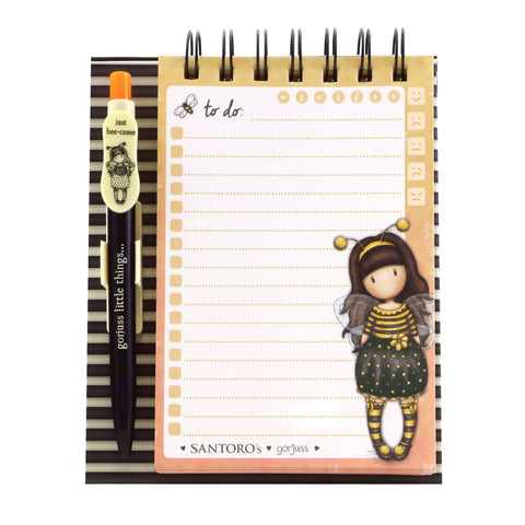 Gorjuss Standing Memo Pad with Pen - Bee-Loved 8488