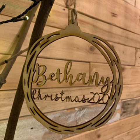 Personalised Wooden Flat Bauble 10748