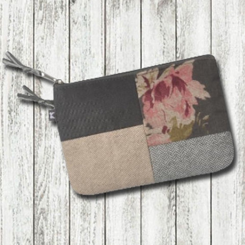 Earth Squared Flower Patchwork Juliet Purse - Grey 9371