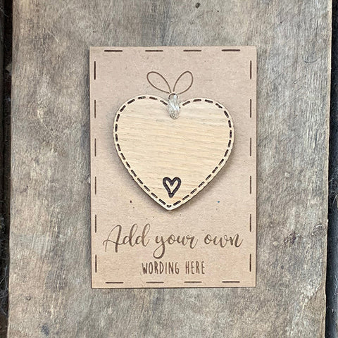 Personalised Little Sentiment Heart & Card - BLANK 10002