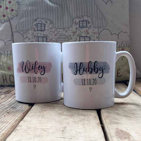 Highlights Personalised 10oz Mug Set - Hubby / Wifey 10705