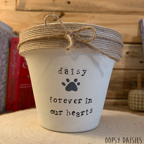 Personalised Plant Pot Sm - Jute Ribbon 10854