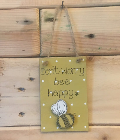 Bees & Daisies Mini Plaque - Don't Worry Bee Happy (Also available BLANK) 8622