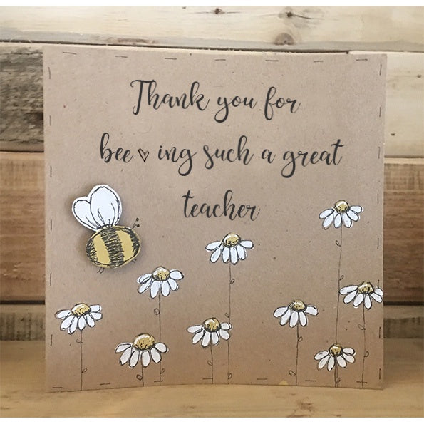 Handmade Bees & Daisies Card - Bee-ing a Great Teacher 9995