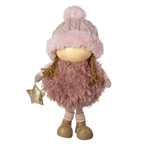 Girl with Fluffy Pink Jumper & Hat - 9353