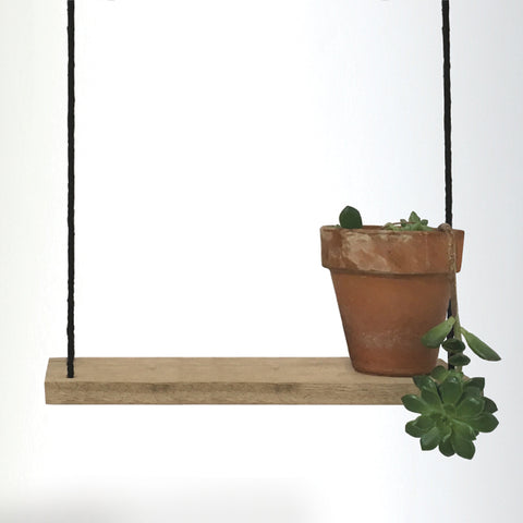 Long Hanging Wood Shelf - Black 10193