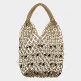 Sea Grass String Bag with Black Beads 9097