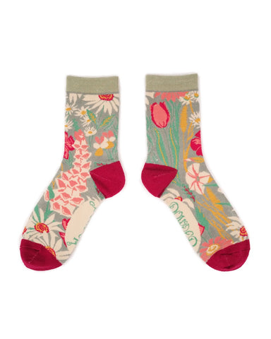 Powder Ankle Sock - Country Garden in Mint 11112