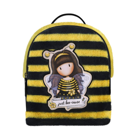Gorjuss Large Furry Rucksack - Bee-Loved 9013