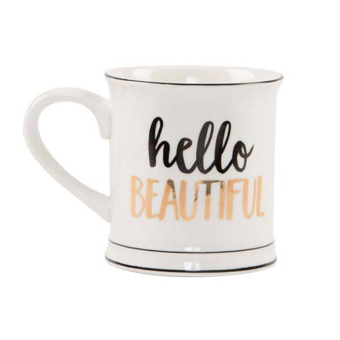 Metallic Monochrome Hello Beautiful Mug 7173