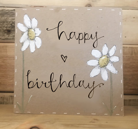 Handmade Tall Daisies Card - Happy Birthday 9903