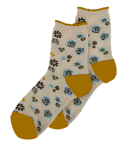 Forever England Ankle Sock - Pansy Floral Cream / Ochre 8311
