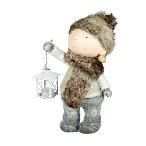 Child In Furry Hat with Light Up Lantern 9177