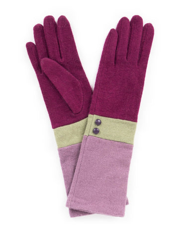 Powder Vivienne Wool Gloves in Pea / Lavender 8213