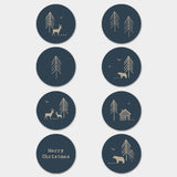 Christmas Label Sticker Sheet -Navy Forest 9299