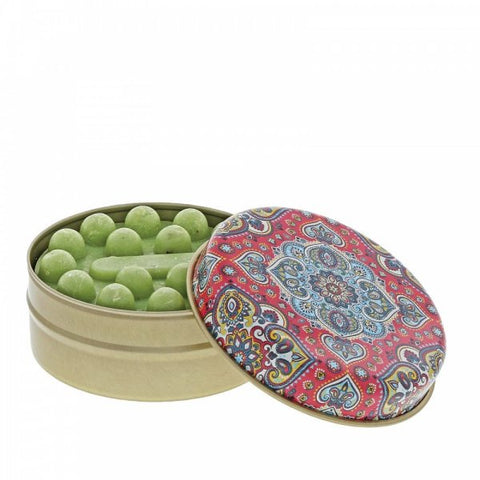 Myros Tin Soap - Olive in Red Blue Kaleidoscope 11264
