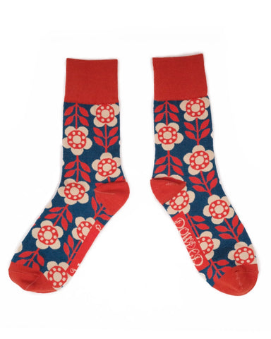 Men's Socks - Flower Power in Denim 11109