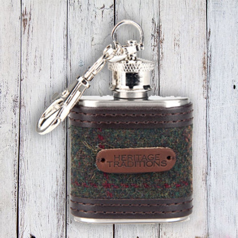 Tweed Hipflask Keyring - Green 10771