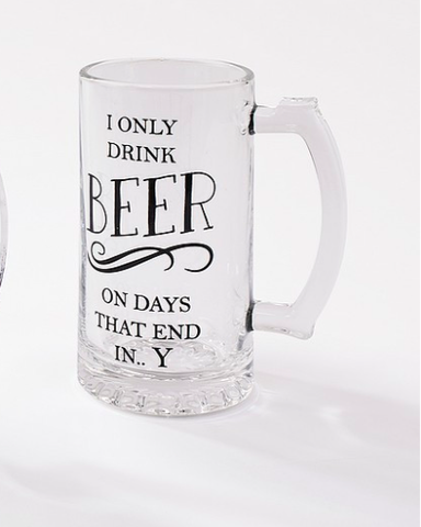 Glass Beer Tankard - I Only Drink Beer 8863