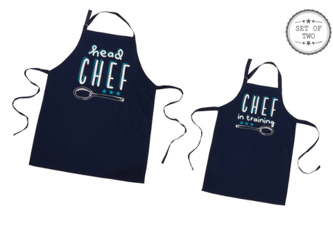 Set of Blue Chef Aprons for Father & Son 8860