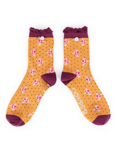 Powder Ankle Sock - Rosebud Mustard 8446
