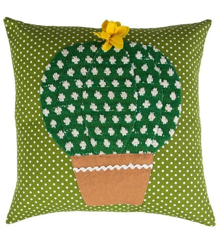 Colourful Cactus Cushion - Yellow Flower 7179