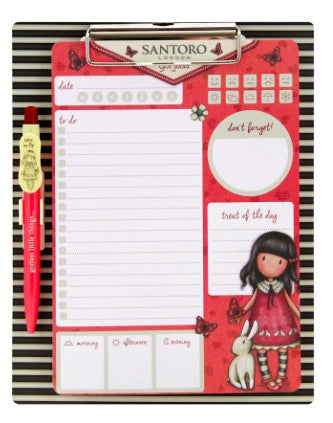 Gorjuss Magnetic Clipboard & Pen Set - Time to Fly 7383