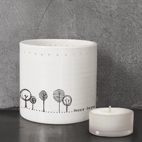 Porcelain Tea Light Holder - Happy Days 9591