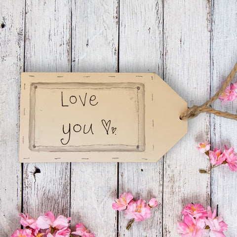 Handmade Wooden Gift Tag - Love You 9875