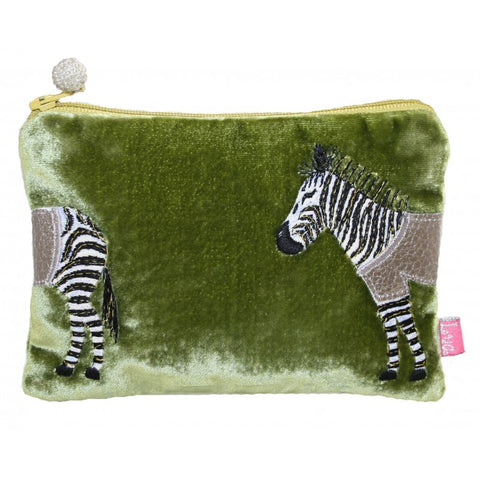 Lua Applique Velvet Coin Purse - Zebra in Olive 9400