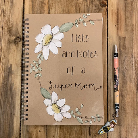 Handmade Notebook with Daisy Wreath - Supermom 9886