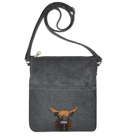 Earth Squared Applique Wool Animal Block Bag - Grey Cow 6393