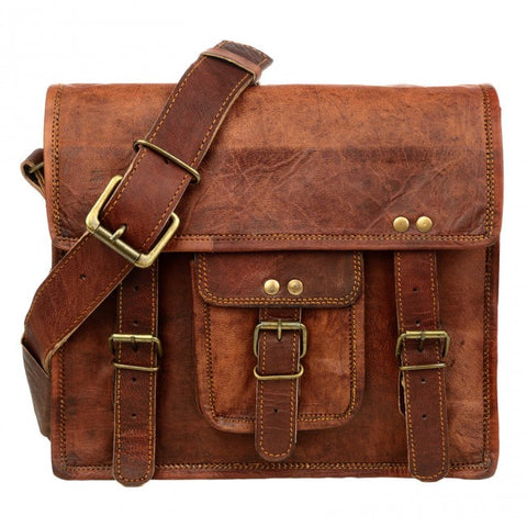 Vintage Style Brown Leather Satchel Medium 7518
