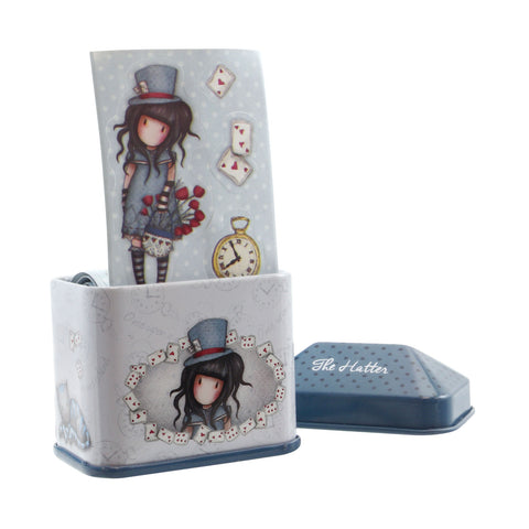 Gorjuss Trinket Tin with Sticker Roll - The Hatter 7597