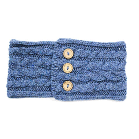 Aran Button Headband - Blue 10791