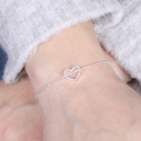 Open Heart Bracelet in Silver 11218