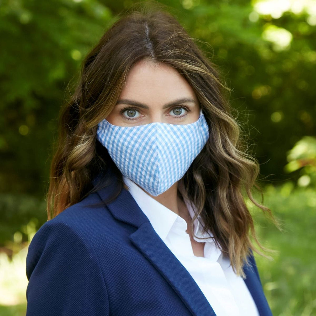 Earth Squared Shaped Face Mask - Blue Gingham 10182