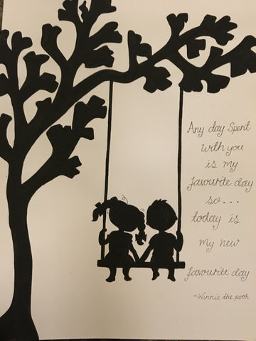 Silhouette with Tree in Lg Frame - 2 People on Swing 5509