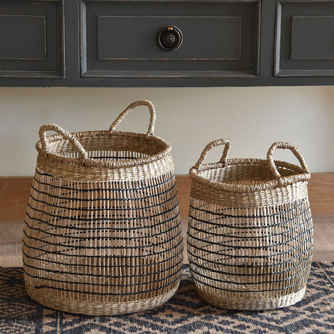 Lg Seagrass Round Basket with Black Trim 8847