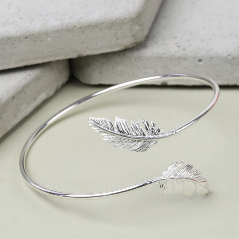 Silver Feather Bangle 11223
