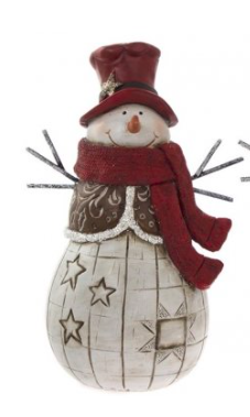 Large Rustic Snowman Figure - Sq Hat 8239
