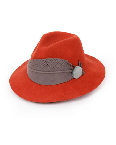 Powder Wool Hat - Felt Feather in Tangerine 9194