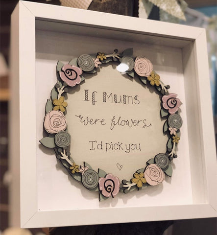 Round Layered Plq in Md Box Frame with Floral Border 8706