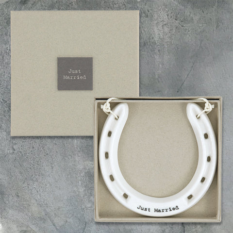 Porcelain Horseshoe - Just Married 7003