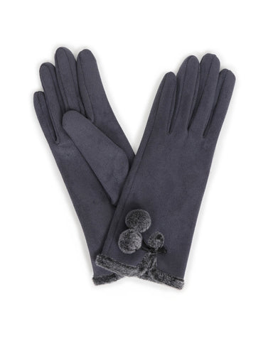 Powder Amelia Faux Suede Gloves in Charcoal 10544