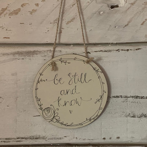 Handmade Wreath Round Plaque - Be Still and Know 9939